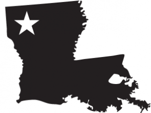 Outline of Louisiana with a star placed in the upper left, where Shreveport is located